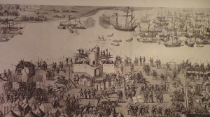 Picture showing an attempted French invasion in 1545. Southsea castle can be seen in the foregound