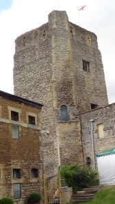 Castle tower incorporated into prison buildings