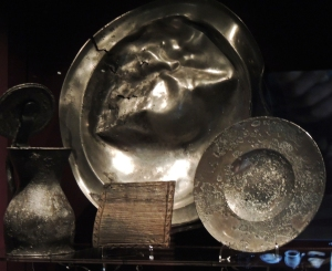 Pewter plates and mug