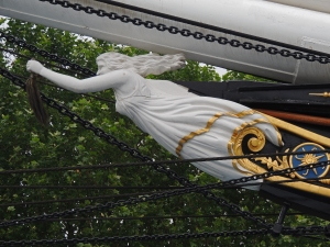 The replacement figurehead at the bow
