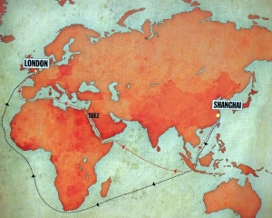 The two routes from Shanghai to London once the Suez canal opened in 1869
