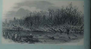 Picture depicting the effects of an explosion at the Gunpowder MIll