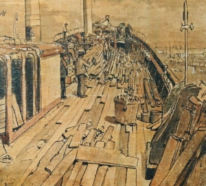 Cutty Sark at East India dock 1954 by James McBee. This was during its transfer from Greenhithe to Greenwich