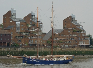 The Gallant passes Greenwich waterfront passing down-river