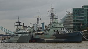 HMS Belfast with HMS Severn a navy patrol boat alongside