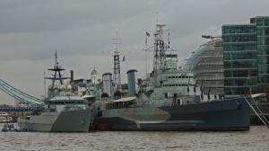HMS Belfast with HMS Severn a navy patrol boat alongside