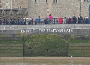 The blocked up entrance to the Tower from the river. Named the Traitors gate because prisoners were often brought to the Tower by boat.
