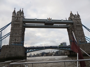 Going under Tower bridge