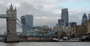 Tower bridge and the city beyond from downstream