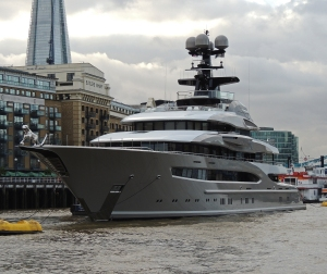 Luxury yacht moored near Tower Bridge