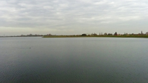 Staines Reservoir looking north to Heathrow Airport