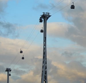 The Emirates cable car which links Greenwich Peninsular to Docklands on the north bank.