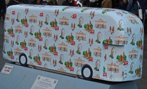 Cath Kidston bus depicting sights of London
