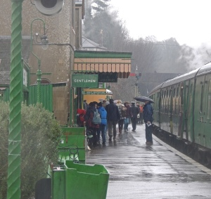 Alresford Station in pouring rain