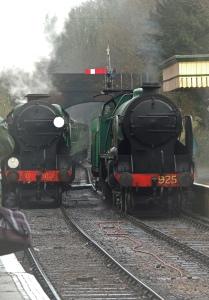 Lord Nelson enters station alongside SR 925 Cheltenham