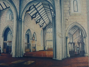 Artists impression of Abbey Church in 14th century