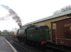 34007 working a goods train at MId-Hants gala