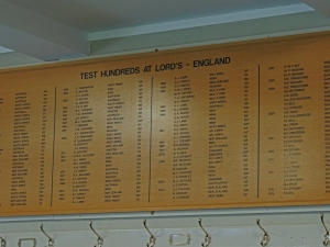 The honours board in the Home dressing room