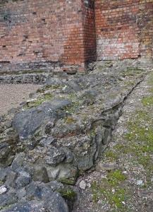 Roman wall remains at foot of Medieval wall
