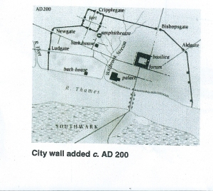 Incorporation of fort into Roman City walls c200AD