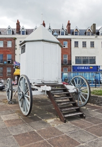 Bathing Machine preserved on the Esplanade at Weymouth