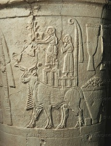 The Uruk Vase - Men bearing gifts to the goddess Inanna (Innin), a bull and agricultural products. Limestone, around 2.900 BCE. (taken from vasekino.net)