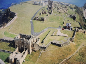 Aerial view of Tynemouth priory and Castle today