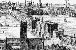 London Bridge in 1630 By Foxhunter22 (Own work) [CC BY-SA 3.0 (http://creativecommons.org/licenses/by-sa/3.0)], via Wikimedia Commons
