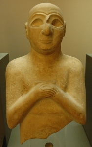 """Statue bearing an inscription on the back: """"Satam, son of Lu-Barab, son of Lugal-kisal-si, king of Uruk, servant of Girim-si, prince of Uruk"""". Limestone, Early Dynastic III, ca. 2400 BC.by Unknown - Jastrow (2006). Licensed under Public Domain via Wikimedia Commons - http://commons.wikimedia.org/wiki/File:Satam_Louvre_AO5681.jpg#/media/File:Satam_Louvre_AO5681.jpg"""