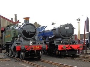 King Edward II and 4144 on the yard outside the Engine shed