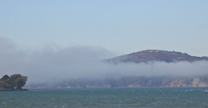 The famous bay mist rolls in