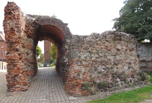 Balkerne Gate, Colchester. Built as one of the entrances through the city wall. It originally had 4 arches, two for pedestrians and two for traffic. This made it the largest entrance arch found in the UK. Today only one pedestrian arch survives as part of a stretch of the Roman city wall.