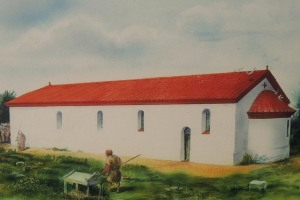 An artists impression of what Butt Road church would have looked like (Colchester Museum)