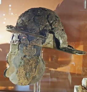 Roman helmet from destruction layer of AD60 (Colchester Museum)