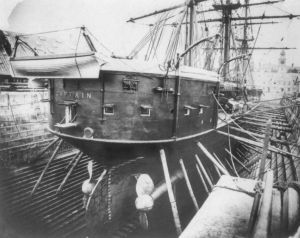HMS Captain in dock  [Public domain], via Wikimedia Commons