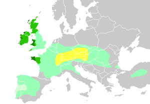 "Extent of Celtic Culture in Europe - ""Celts in Europe"" by QuartierLatin1968. Licensed under CC BY-SA 3.0 via Wikimedia Commons - https://commons.wikimedia.org/wiki/File:Celts_in_Europe.png#/media/File:Celts_in_Europe.png"