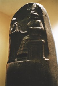 "Detail from the Stele (""Code-de-Hammurabi-2"" by Rama - Own work. Licensed under CC BY-SA 2.0 fr via Wikimedia Commons.)"