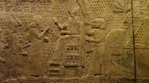 The King recieves tribute  from Lachish reliefs Nineveh. Now in British Museum