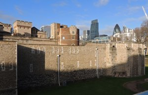 Tower of London with the modern city skyline in the background