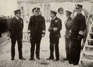 """King George V and his son the Prince of Wales visiting the Grand Fleet in 1918. From left to right: Admiral David Beatty, RN Rear Admiral Hugh Rodman, USN King George V Prince Edward (later King Edward VIII) Vice Admiral William S. Sims, USN.""""Beatty Rodman KingGeorgeV KingEdwardVIII Sims"""" by Underwood & Underwood[1] - http://www.firstworldwar.com/photos/sea3.htm (specifically here); this image, a crop of Underwood & Underwood's original, was first published in: March, Francis Andrew; Beamish, Richard Joseph (1919) History of the World War, Philadelphia, United States: John C. Winston Company, pp.p. 674 Retrieved on 17 August 2009.. Licensed under Public Domain via Wikimedia Commons - https://commons.wikimedia.org/wiki/File:Beatty_Rodman_KingGeorgeV_KingEdwardVIII_Sims.jpg#/media/File:Beatty_Rodman_KingGeorgeV_KingEdwardVIII_Sims.jpg"""