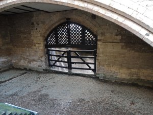 The inner entrance to Traitors Gate. the steps leading up to the tower can be seen in the bottom left corner