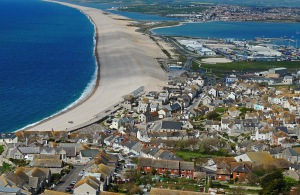 Chesil beach which connects Portland to the mainland