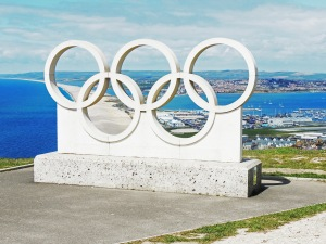 Olympic Rings on Portland heights commemorating the 2012 Olympics venue