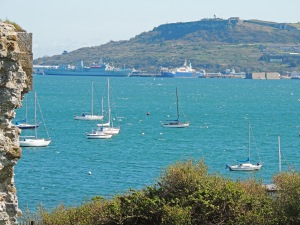 Looking from Sandsfoot castle towards Portland castle