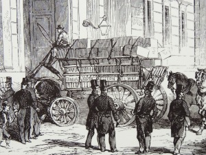 A shipment of Californian gold arriving at the Bank in 1849