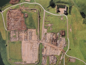 Aerial view of remains at Vindolamda
