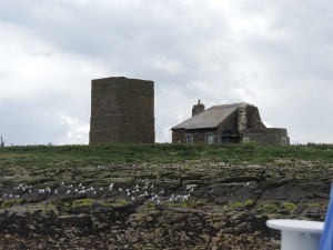 The Lighthouse on Brownsman Island (base at end of cottage). The original fire-tower stands to the left of the cottage.