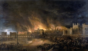 St Pauls in the Great Fire of London 1666 [Public domain], via Wikimedia Commons