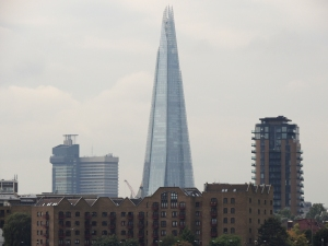The Shard dominates the skyline dwarfing the tower of Guys Hospital
