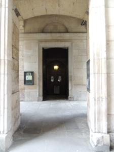 The unassuming church entrance which was passed by all those crossing London Bridge